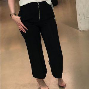 High waist wide leg culotte pants exposed zipper!